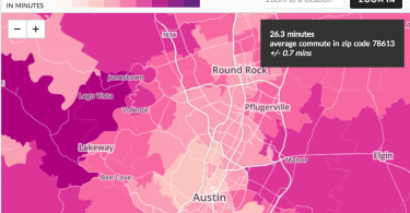 Average commute times from Cedar Park to Austin.