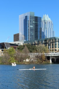 View of downtown Austin from the shores of Lady Bird Lake.