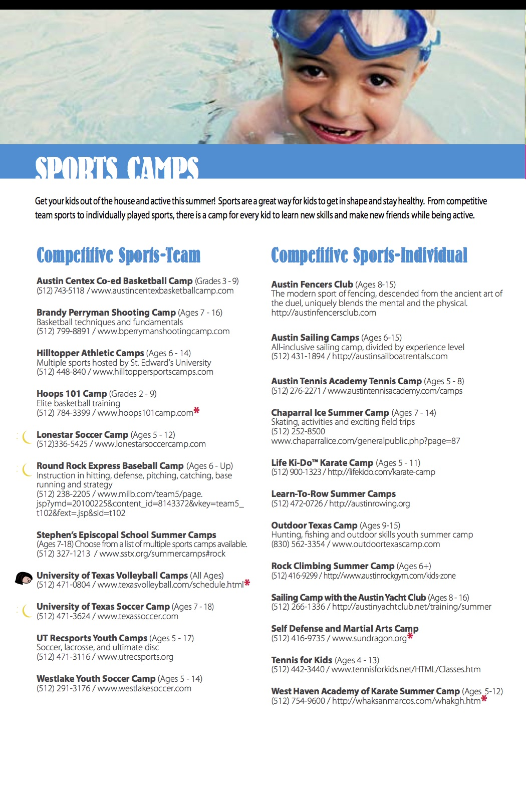 Central Texas Summer Camps 2016