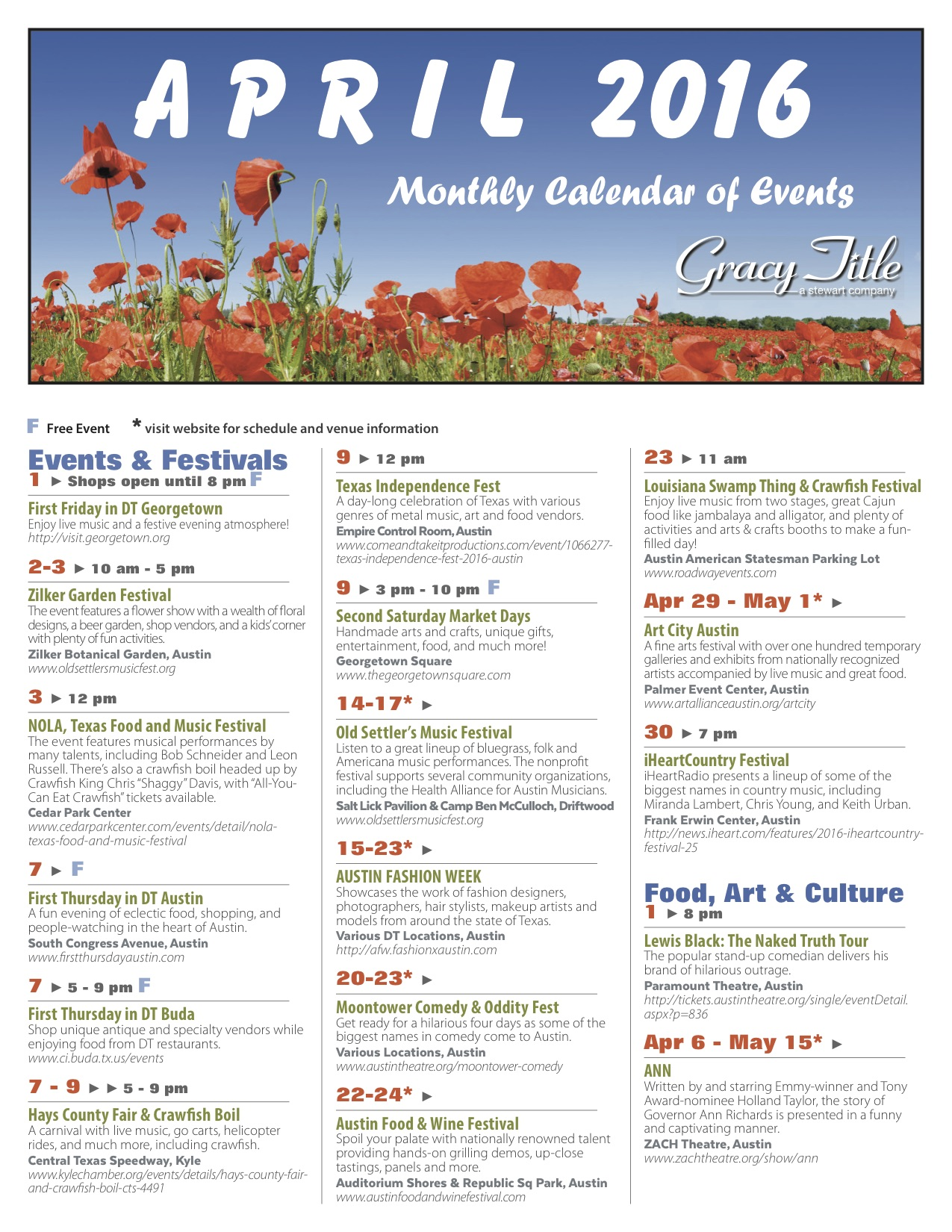 Calendar April Events : Events around austin april cedar park texas living