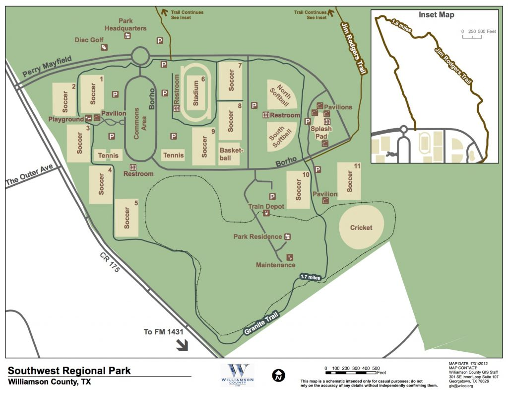 Southwest Regional Park Map