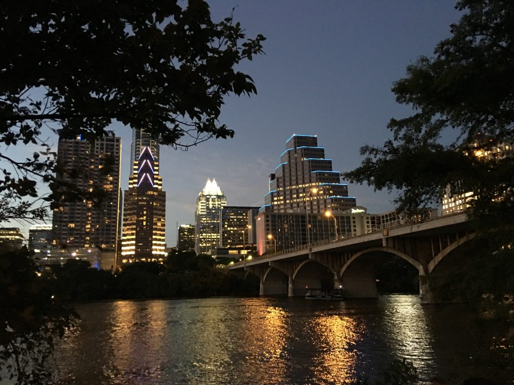 Downtown Austin at Night after Congress Bridge Bat Watching
