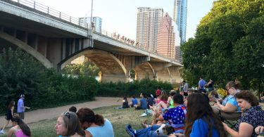 Bat viewing under Congress Avenue Bridge.