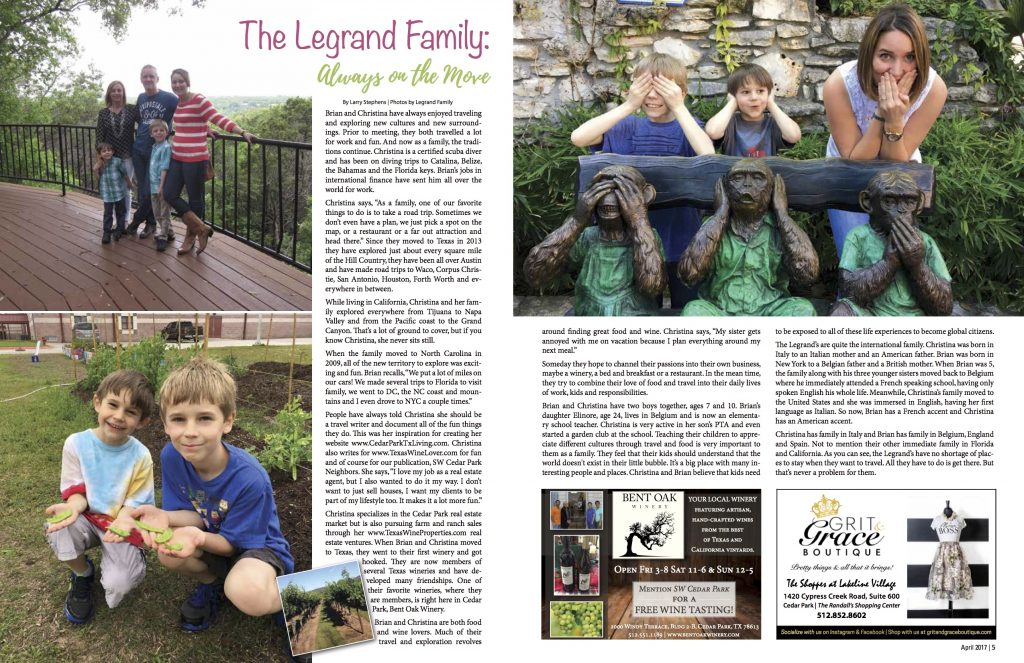 SW Cedar Park Neighbors Magazine featuring Legrand family.