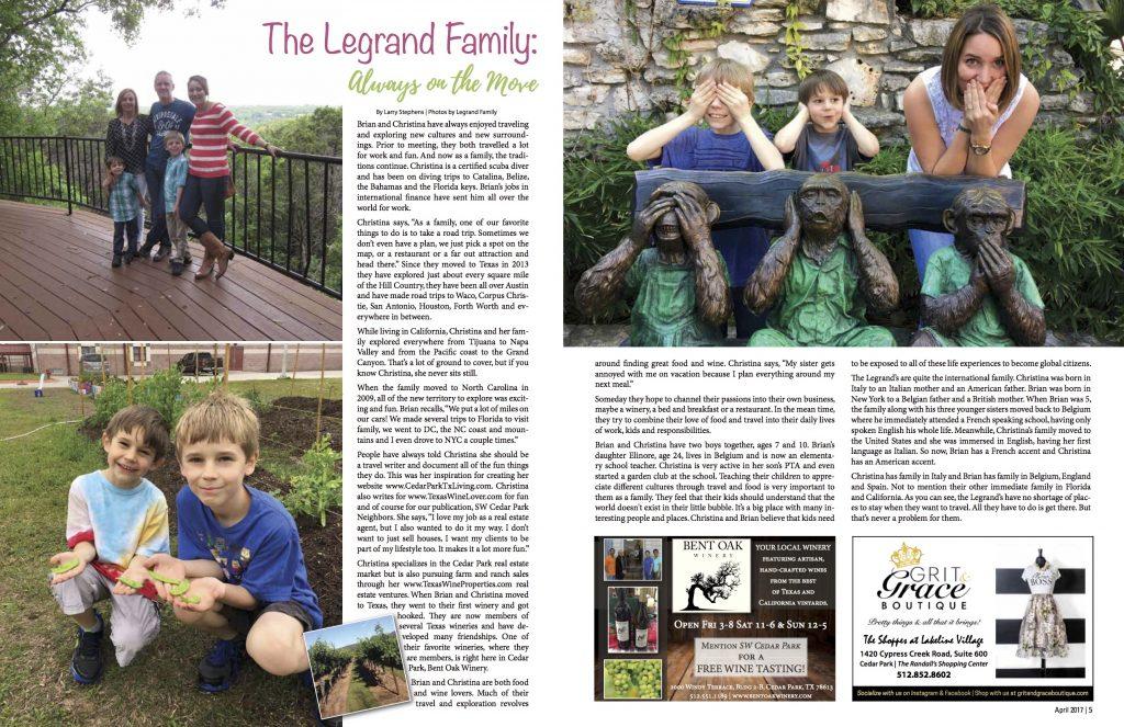 SW Cedar Park Neighbors Magazine featuring Legrand family.